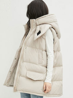 Hooded Sleeveless Loose Down Vest