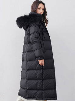 Solid Color Hooded Long Puffer Coat