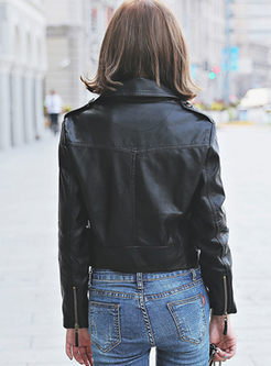 Notched Long Sleeve Slim PU Biker Jacket