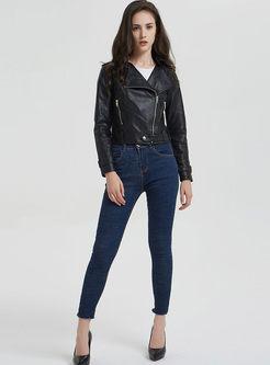 Black Side Zipper Short Biker Jacket