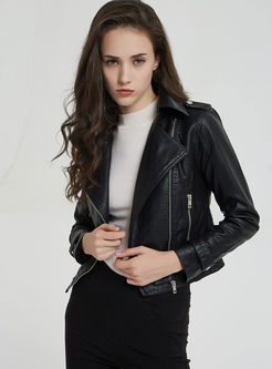 Black Side Zipper Short Biker Jacket