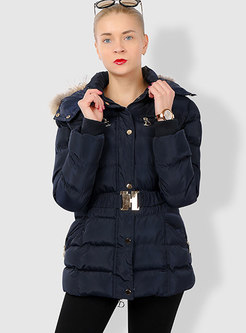 Hooded Waist Slim Puffer Coat