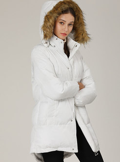 Solid Color Hooded Slim Down Cotton Puffer Coat