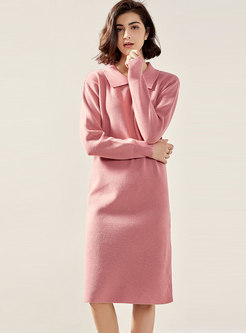 Solid Color Straight Sweater Dress