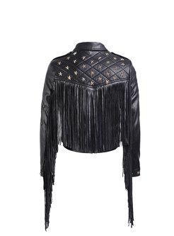 Star Fringed Short PU Jacket