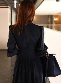 Mock Neck Lantern Sleeve A Line Dress