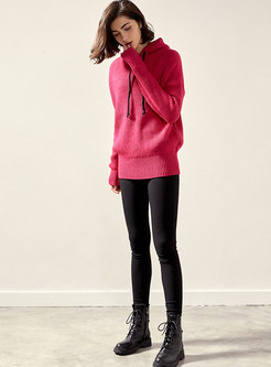 Solid Color Hooded Pullover Sweater