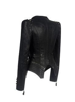 Zipper Slim Short Motorcycle PU Jacket