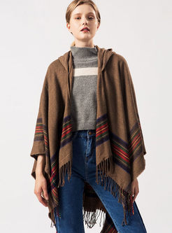 Hooded Striped Fringed Cashmere Poncho Scarf