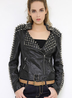 Short Motorcycle PU Jacket With Belt