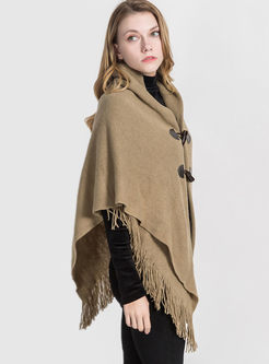 Solid Color Fringed Faux Cashmere Poncho