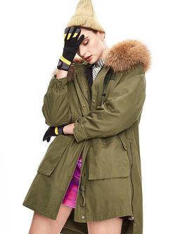 Hooded Long Sleeve Loose Parka Coat