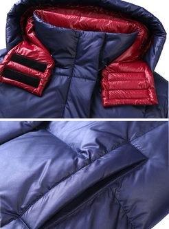 Color-blocked Long Loose Puffer Coat