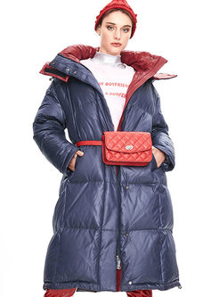 Color-blocked Long Loose Puffer Coat