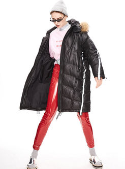 Hooded Diamond Pacthwork Loose Puffer Coat