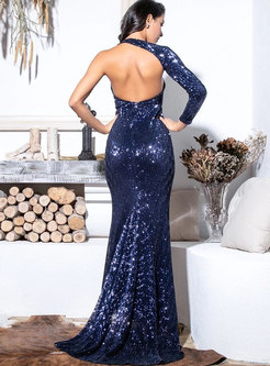 Cold Shoulder Split Backless Bodycon Formal Dress