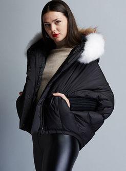 Black Bat Sleeve Short Loose Down Coat