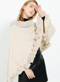 Fur Collar Pullover Cloak Poncho