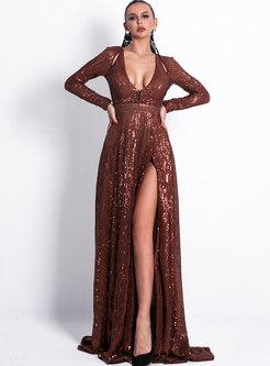 Solid Color Deep V-neck Split A Line Formal Dress