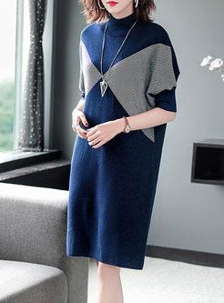 Color-blocked Turtleneck Striped Sweater Dress