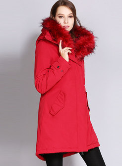 Fur Collar Solid Color Drawstring Parka Coat