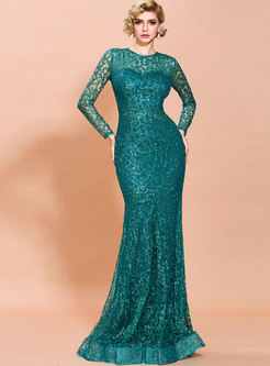 Crew Neck Lace Peplum Bodycon Formal Dress