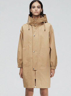 Hooded Straight Loose Trench Coat