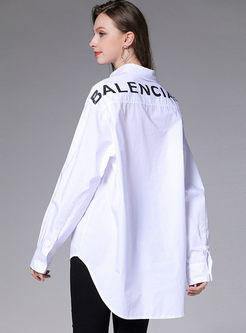 Plus Size Letter Print Loose Shirt