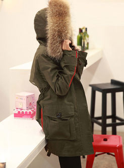 Color-blocked Hooded Straight Drawcord Coat