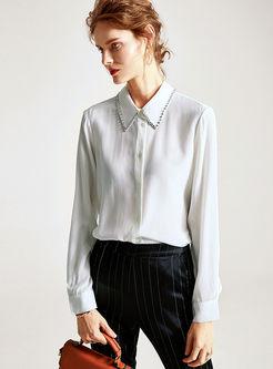 Long Sleeve Beading Silk Loose Blouse