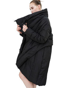 Black Turtleneck Loose Asymmetric Down Coat