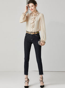 Ruffled Neck Silk Single-breasted Blouse