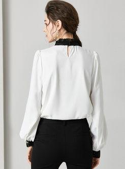 Mock Neck Lantern Sleeve Silk Blouse