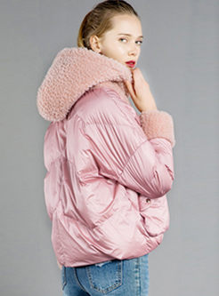 Fleece Hooded Patchwork Short Down Jacket