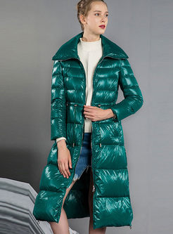 High Shine Long Puffer Coat With Drawcord