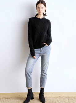 Crew Neck Pullover Cable Knit Sweater