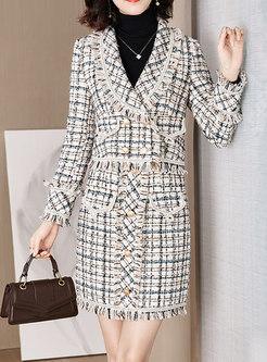Fringed Tweed Slim Suit Dress