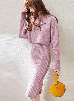 Crew Neck Sequin Knit Suit Dress