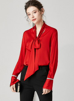 Solid Color V-neck Tie Loose Blouse