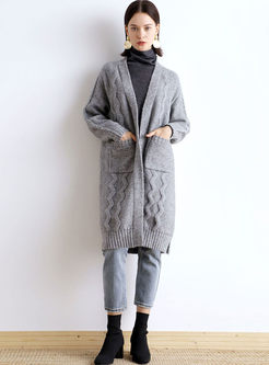 Grey V-neck Long Shift Sweater Coat