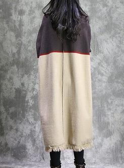 Color-blocked Turtleneck Fringed Sweater Dress