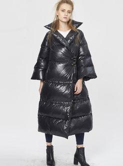 Plus Size Flare Sleeve Long Puffer Coat
