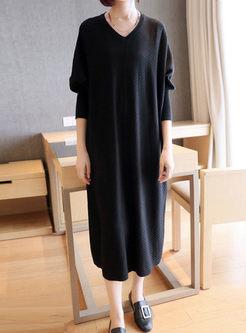 V-neck Long Sleeve Shift Sweater Dress