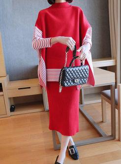 Turtleneck Pullover Striped Sweater Suit Dress