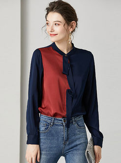 Color-blocked Long Sleeve Silk Blouse