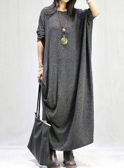 Plus Size Solid Color Long Sweater Dress