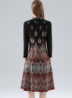 V-neck Print Waist Plus Size Skater Dress