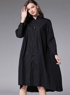 Lapel Long Sleeve Plus Size Shirt Dress