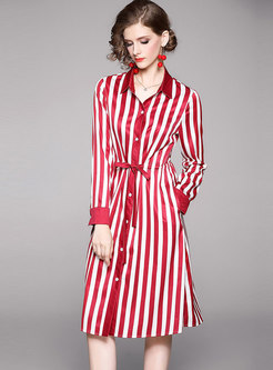 Waist Tie Striped Color-blocked T-shirt Dress