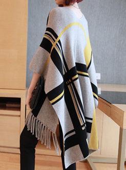 V-neck Plaid Fringed Poncho Sweater Coat